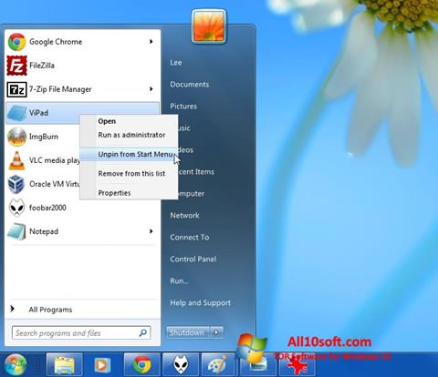 Screenshot ViStart para Windows 10