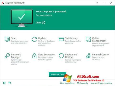 Screenshot Kaspersky Total Security para Windows 10
