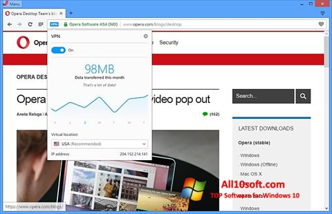 Screenshot Opera para Windows 10