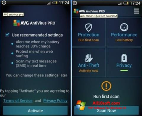 Screenshot AVG AntiVirus Pro para Windows 10