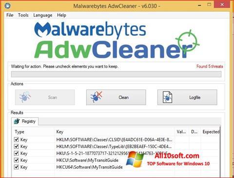 Screenshot AdwCleaner para Windows 10