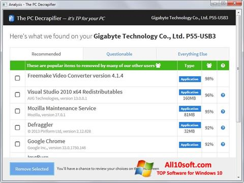 Screenshot PC Decrapifier para Windows 10