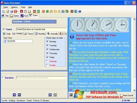 Screenshot Auto ShutDown para Windows 10