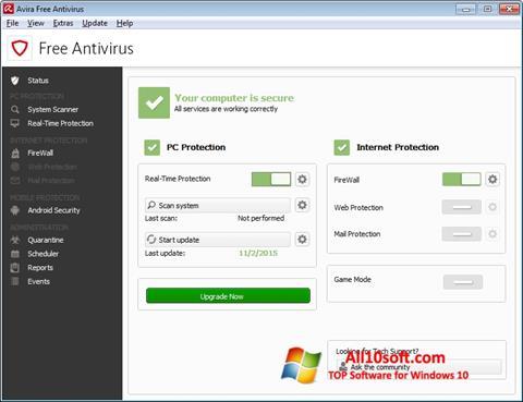 Screenshot Avira Free Antivirus para Windows 10
