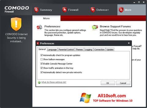 Screenshot Comodo Firewall para Windows 10