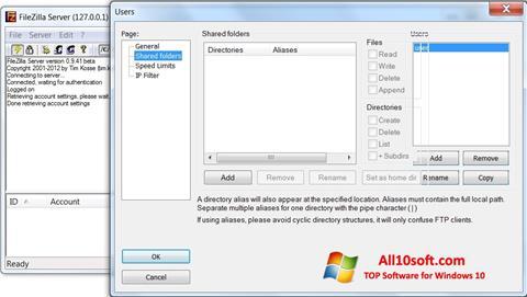 Screenshot FileZilla Server para Windows 10