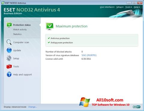 Screenshot ESET NOD32 para Windows 10