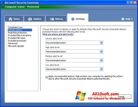 Screenshot Microsoft Security Essentials para Windows 10