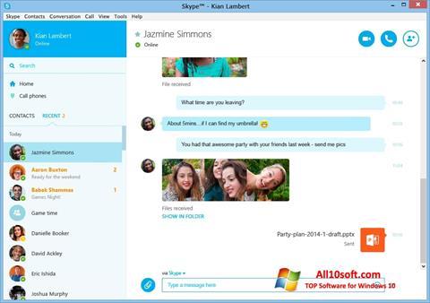 Screenshot Skype para Windows 10